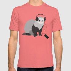 Music Loving Ferret Pomegranate Mens Fitted Tee MEDIUM