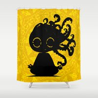 yoga Shower Curtains featuring Yoga by BLOOP