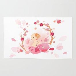 Sweet minimalist dog sakura Rug