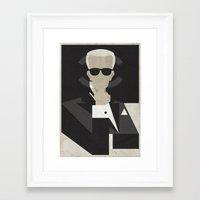 karl lagerfeld Framed Art Prints featuring Karl by B_U_R_T