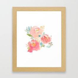 Watercolor Peonies Summer Bouquet Framed Art Print
