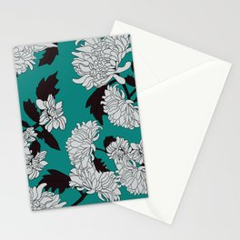 Tirquise paeony Stationery Cards