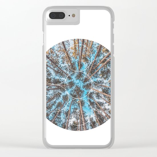 Circular Palm Trees - Geometric Photographic Clear iPhone Case