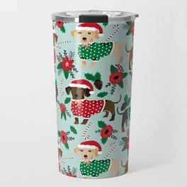 Dachshund christmas sweater florals poinsettia holiday red and white santa hat for dog lover Travel Mug