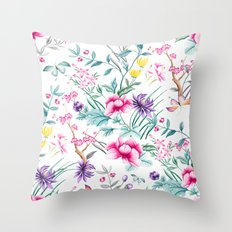 Chinoiserie Decorative Floral Motif Throw Pillow
