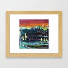 Behind the trees Framed Art Print