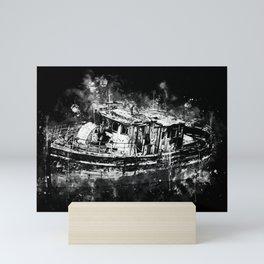 old ship boat wreck ws bw Mini Art Print
