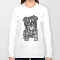 english bulldog Long Sleeve T-shirts featuring  Inspired English Bulldog by DiAnne Ferrer