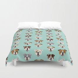 English Bulldog pattern print dog breed pet portrait gifts for dog owner bulldog Duvet Cover