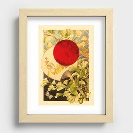 Japanese Ginkgo Hand Fan Vintage Illustration Recessed Framed Print