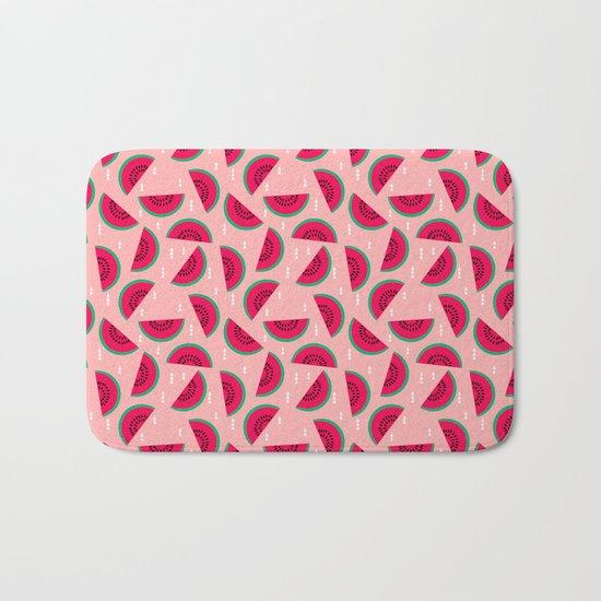 watermelon print pattern summer fresh mint cool fruit fashion spring trendy minimal print design Bath Mat