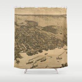 Vintage Pictorial Map of Jacksonville FL (1874) Shower Curtain