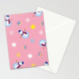 Snowflakes & Snowman_B Stationery Cards