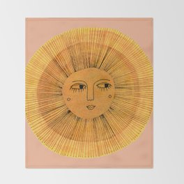 Sun Drawing Gold and Pink Throw Blanket