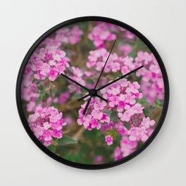 Purple Flowers in the Field Wall Clock