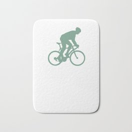 Cyclist fun with the mountain bike Bath Mat