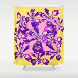 Abstract Purple Dutch Iris Floral Garden Yellow-Pink Shower Curtain