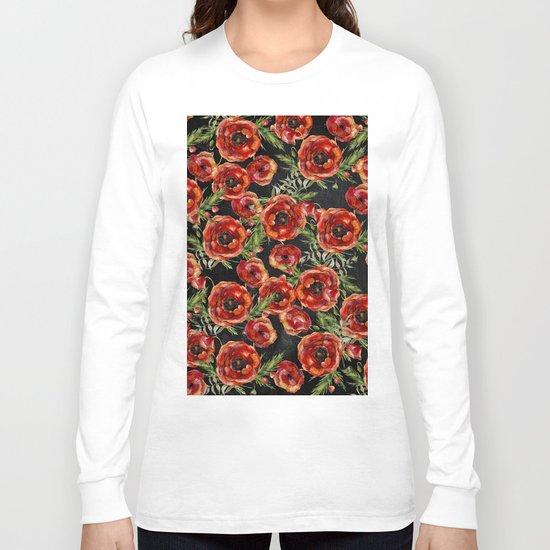 Poppy Pattern On Chalkboard Long Sleeve T-shirt