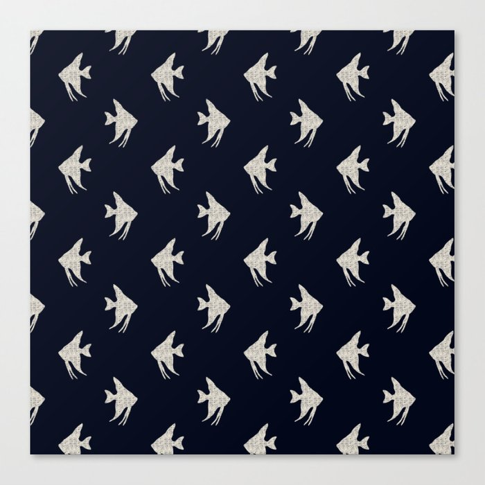 Navy blue maritime sea fish pattern Canvas Print