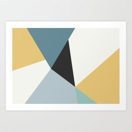 Broken Glass, blue & yellow, abstract graphic Art Print