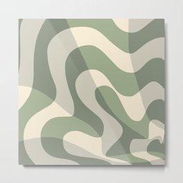 Abstract wave stripe sage green Metal Print