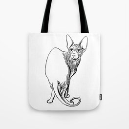 Sphynx Cat Illustration - Sphynx - Cat Drawing - Naked Cat - Wrinkly Cat - Black and White Tote Bag