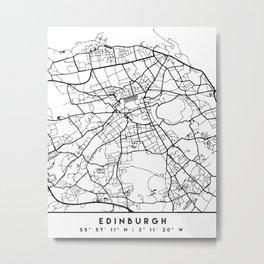EDINBURGH SCOTLAND BLACK CITY STREET MAP ART Metal Print