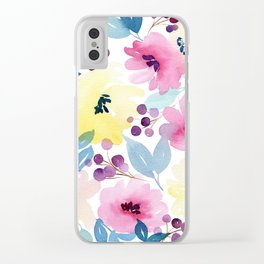 Tropical Poppies Clear iPhone Case