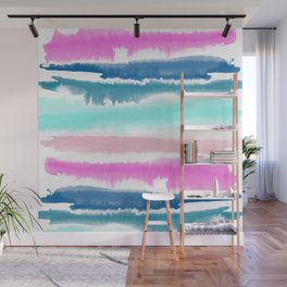 Modern hand painted watercolor pink blue stripes pattern Wall Mural