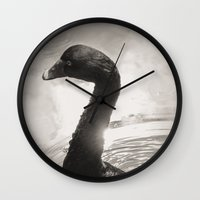 black swan Wall Clocks featuring Black Swan by Leah M. Gunther Photography & Design