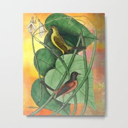 Orioles with Catalpa Tree, Natural History, Vintage Botanical Collage Metal Print