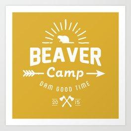 Beaver Camp: Dam Good Time (White) Art Print