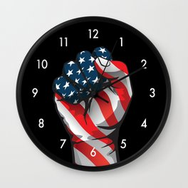 American Patriotic Raised Fist Wall Clock