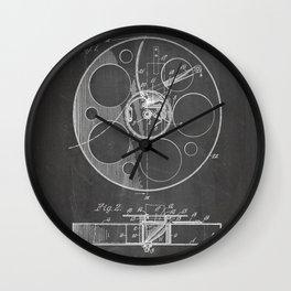 Film Reel Patent - Classic Cinema Art - Black Chalkboard Wall Clock