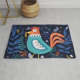 Happy blue chicken roster in flowers theme Rug