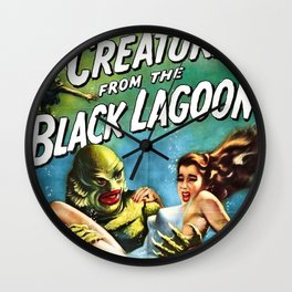 Creature from the Black Lagoon, vintage horror movie poster Wall Clock