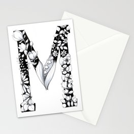 Floral Pen and Ink Letter M Stationery Cards