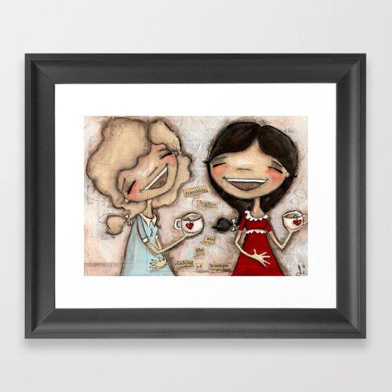 Clinking Teacups Framed Art Print