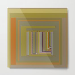 Anomaly in Brown Stripes graphic design Metal Print