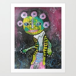 Yellow And Green On The Face Art Print