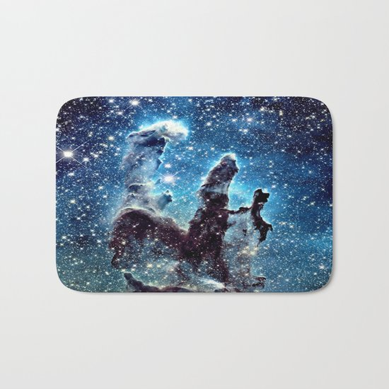 Pillars of Creation Nebula: Ocean Blue Galaxy Bath Mat
