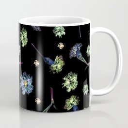 Carnations, Soft Grunge, Black, Blue, Real Flowers Pattern Coffee Mug