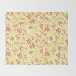 Dogs In Sweaters (Yellow) Throw Blanket