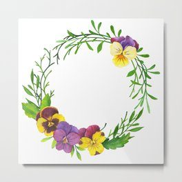 Watercolor pansies wreath Metal Print