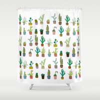 coachella Shower Curtains featuring Cactus by stylishbunny