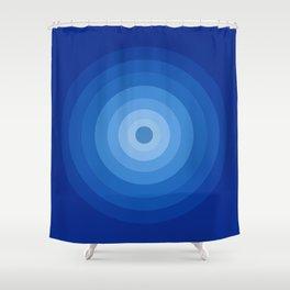 Blue Retro Bullseye Shower Curtain