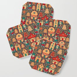 Fairy gnomes and magic houses.  Christmas trees, months and stars. Pattern in folk style. Coaster