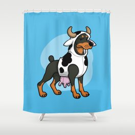 Doberman in a Cow Costume Shower Curtain