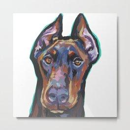 Fun Doberman Pinscher Dog Portrait bright colorful Pop Art by LEA Metal Print