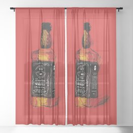 Red Whiskey Sheer Curtain